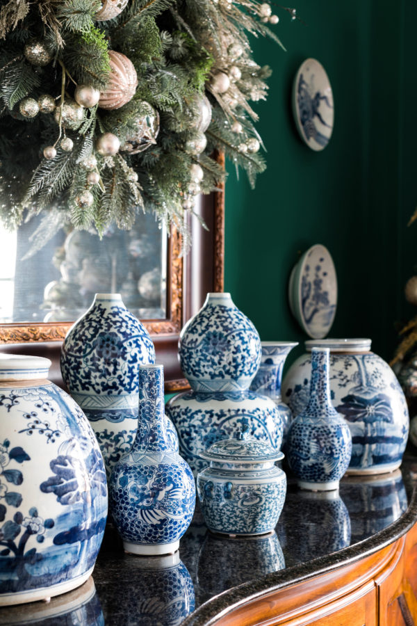 Blue and white ginger jars for the holidays