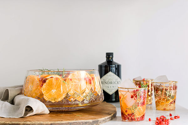 orange, pomegranate and rosemary sparkling holiday gin punch, Waiting On Martha