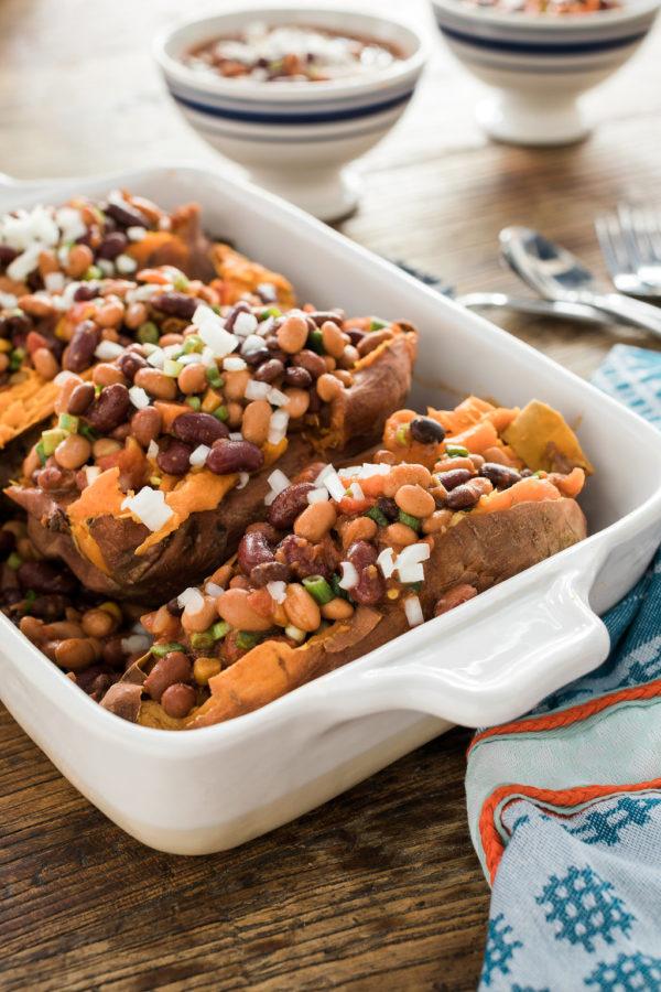 vegetarian chili stuffed sweet potatoes