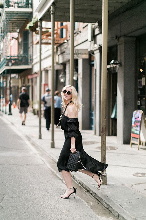 Black off the shoulder dress via waitingonmartha.com