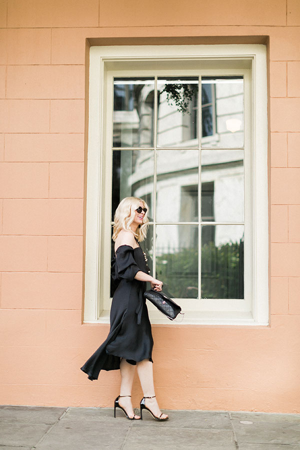 Easy black off the shoulder dress outfit idea, @waitingonmartha