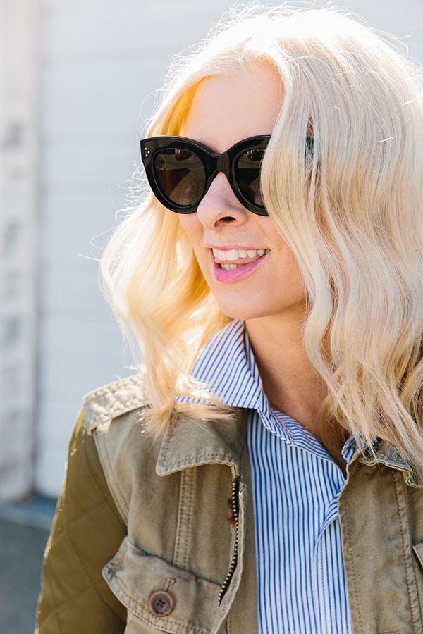 Black Celine sunglasses and blue stripe shirt with military jacket, @waitingonmartha