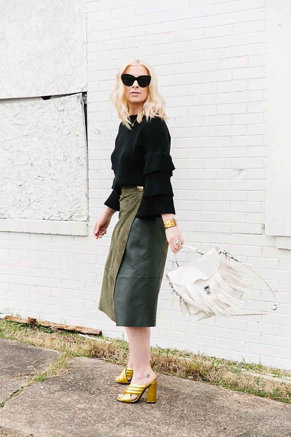 Green suede skirt and black sweater outfit, waitingonmartha.com