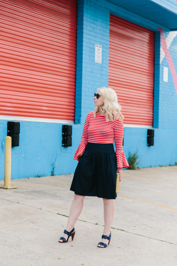 Red striped shirt with flare sleeves & black skirt outfit, Waiting on Martha