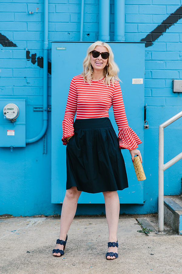 Red striped shirt with flare sleeves and black skirt, Waiting on Martha