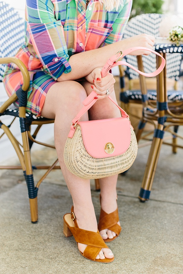 Plaid shirtdress and wicker bag outfit | Waiting on Martha