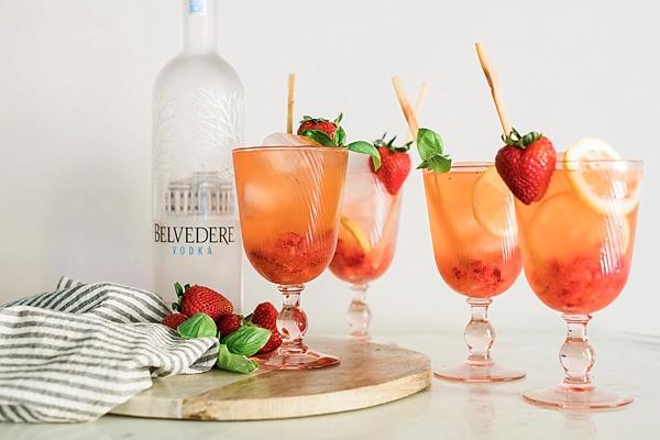 Boozy Strawberry Basil Lemonade recipe | Waiting on Martha