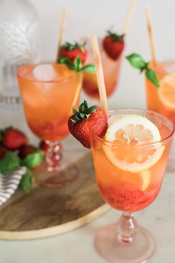 Boozy Strawberry Basil Lemonade | Waiting on Martha