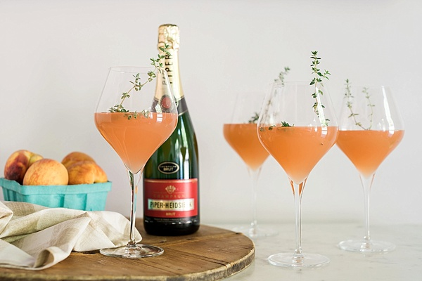 Peach Bellini with fresh thyme recipe on Waiting on Martha