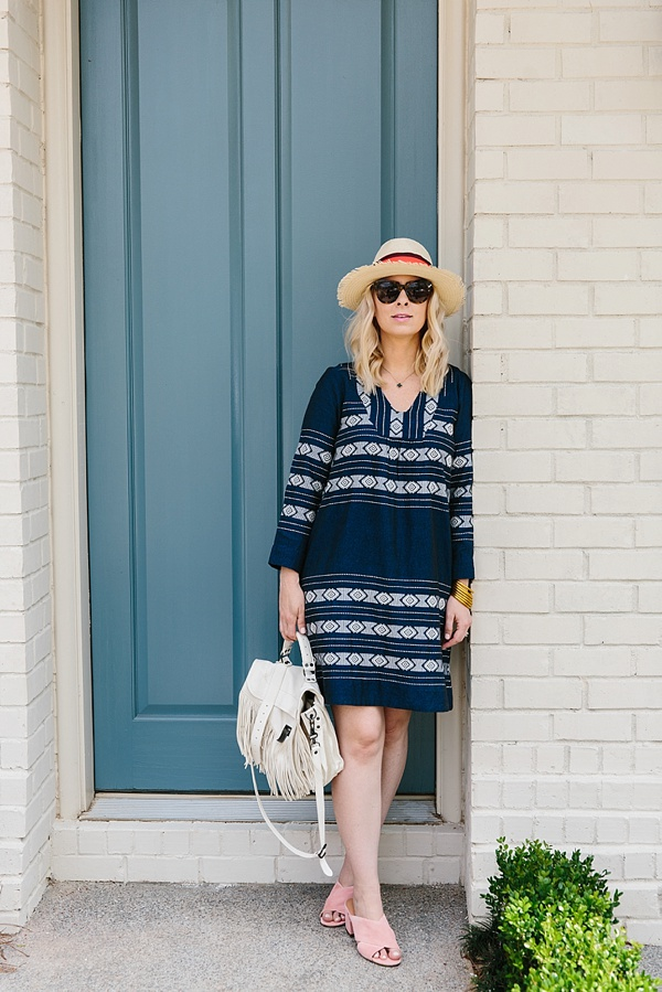 Embroidered dress with Sigerson Morrison slides outfit on Waiting on Martha