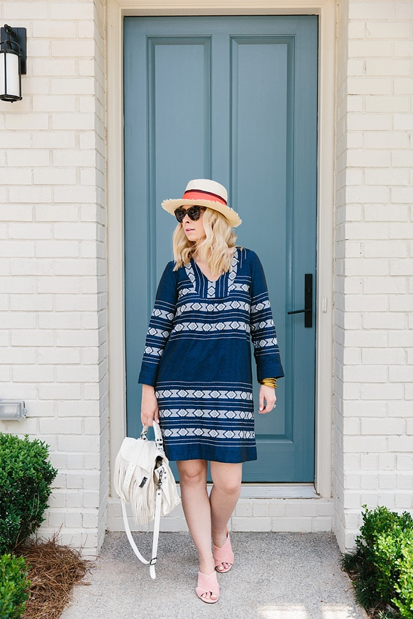Embroidered dress, panama hat and Sigerson Morrison slides outfit idea on Waiting on Martha