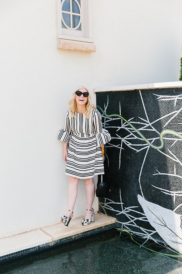 Black and white stripe dress on Waiting on Martha