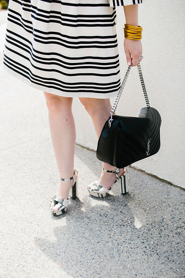 Black and white stripes with black YSL bag on Waiting on Martha