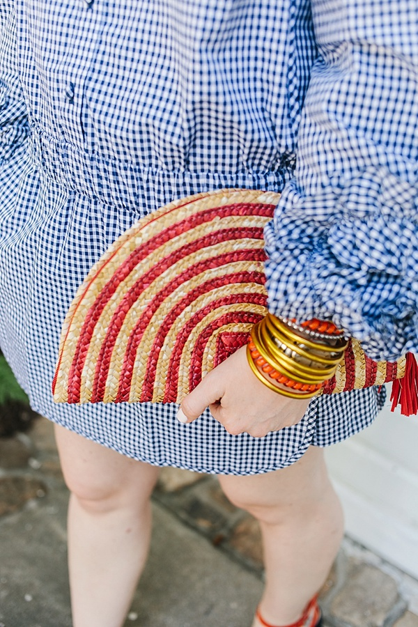 Red and tan clutch with blue gingham