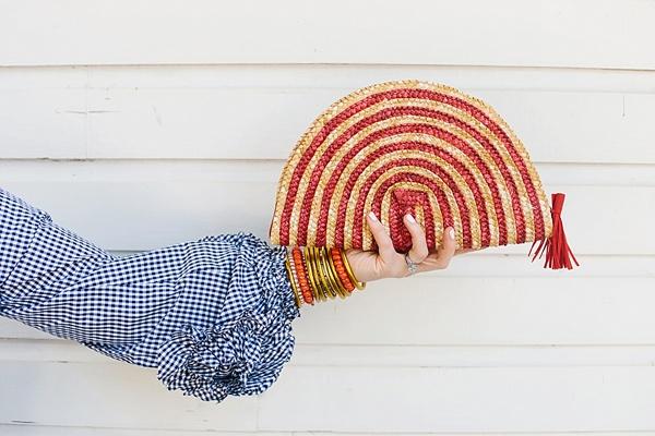 Red straw clutch, Waiting on Martha