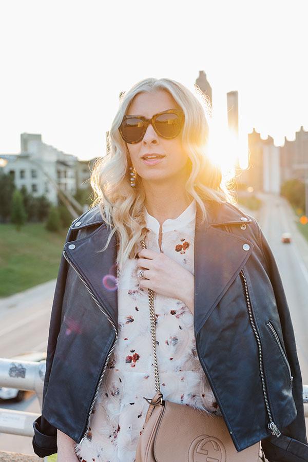 Feathery shirt dress and leather jacket on Waiting on Martha