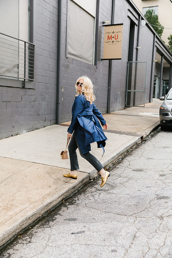 Blue silk trench coat, fashion inspiration on Waiting on Martha