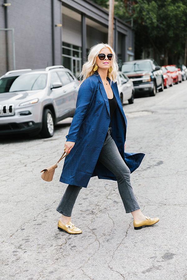 Silk trench dress coat with jeans and flats