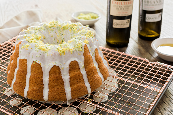 Olive oil bundt cake with citrus glaze