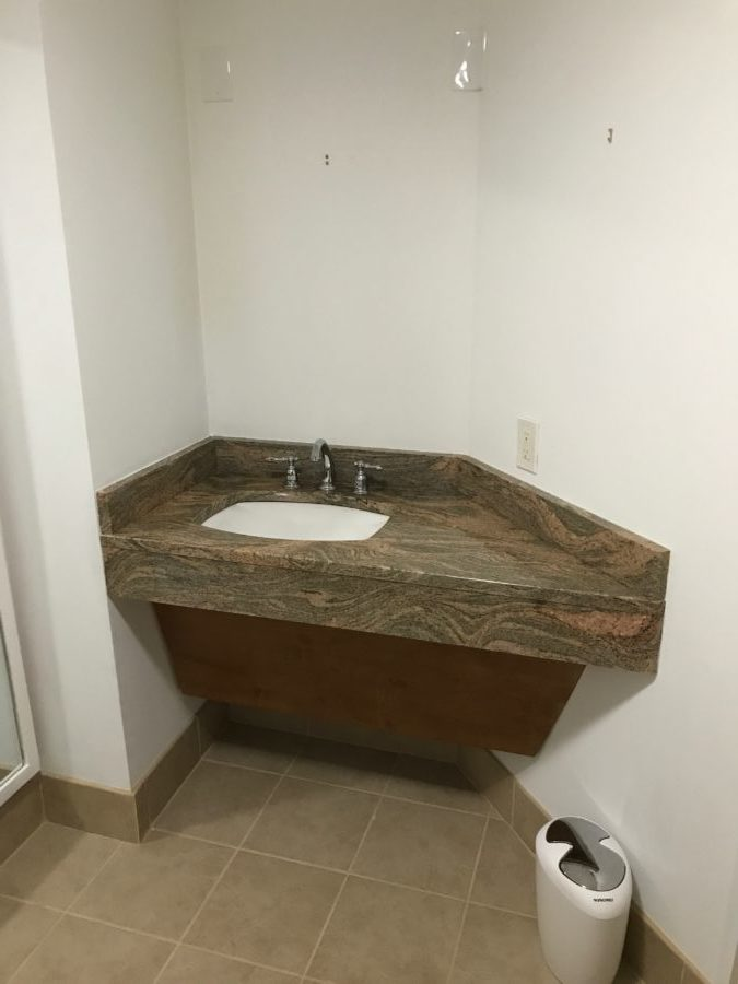 As You Can See By This Picture The Bathroom Was Brown And Bland. Brown  Tile, Brown Granite, Brown Wood Paneling; Yes It Appears Brown Was The  Theme.