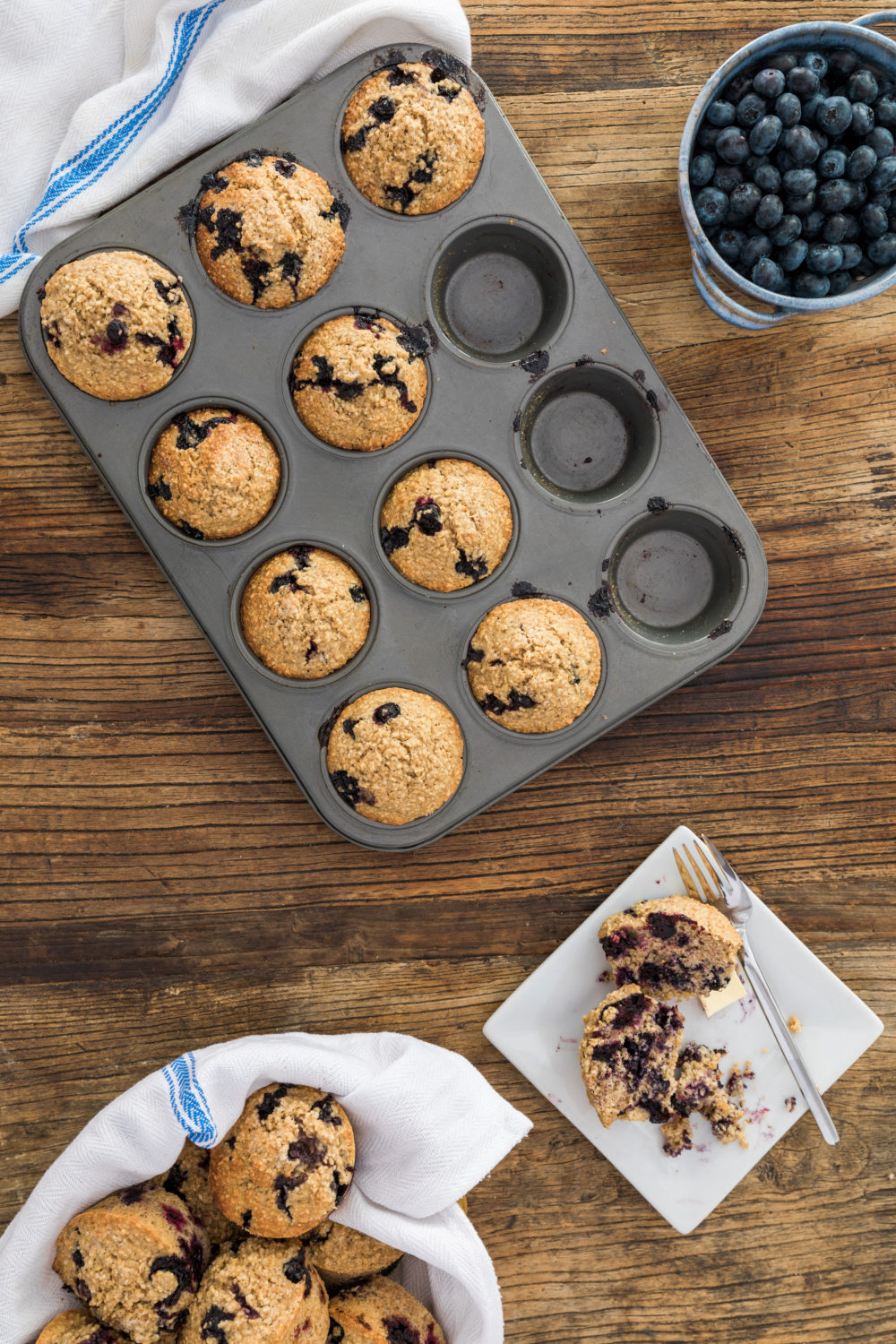 Easy, Dairy Free Blueberry Oatmeal Muffins