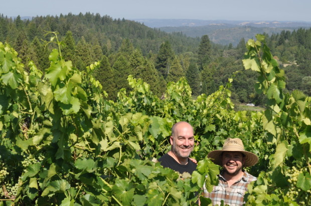 Hardy and Chris standing in Grenache near the American River Canyon