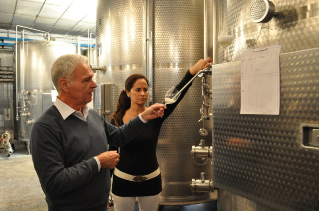 Primo and Silvia tank sampling second fermentation
