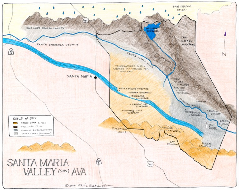 Winegrowing Santa Maria Valley (+ a hand drawn map)