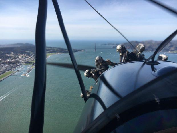 flying towards the Golden Gate Bridge