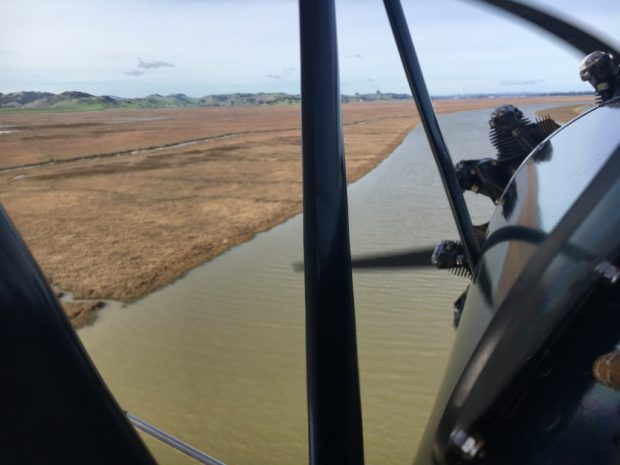 flying back to Sonoma low over the slough