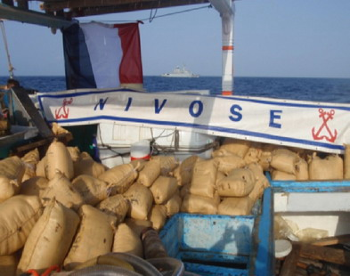 French Warship FS Nivose seizes 2.5 tonnes hashish in the Arabian Sea