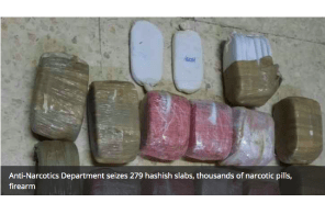 Jordan- Anti-Narcotics Department seizes 279 hashish slabs, thousands of narcotic pills, firearm