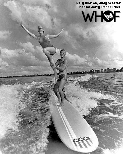 Gary Warren tandem wakesurfing at Cypress Gardens Water Ski Show - 1964