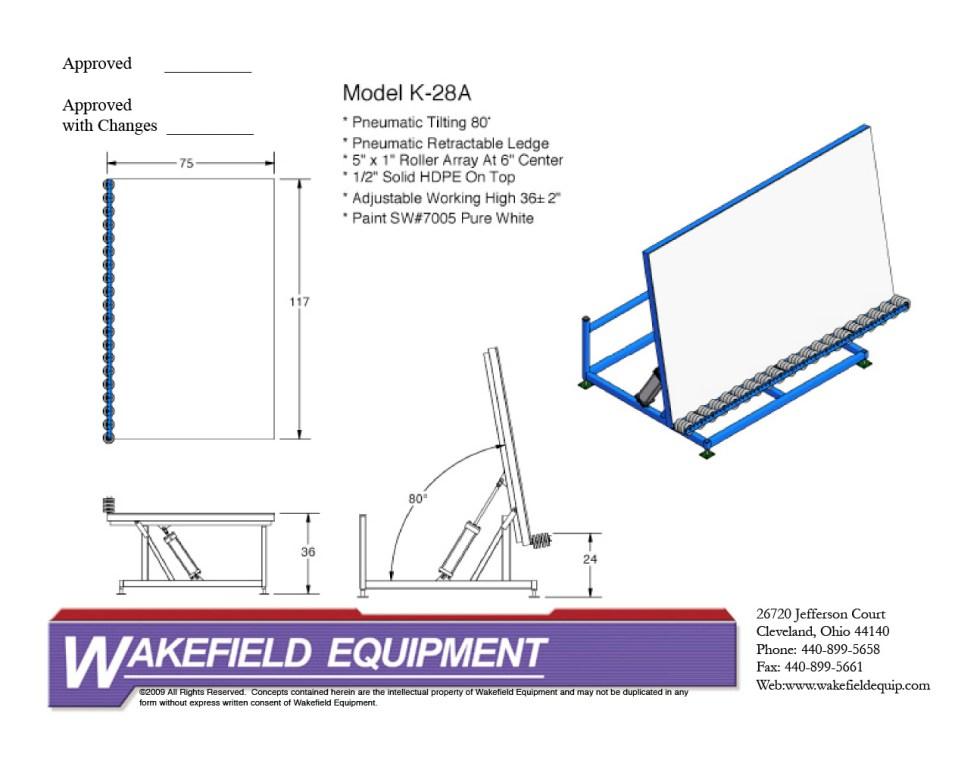 Pneumatic Tilt Table HDPE Top CAD