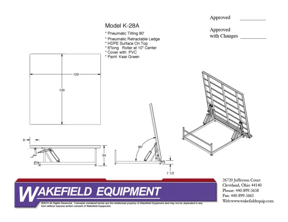 Pneumatic Tilt Table Solid Top CAD