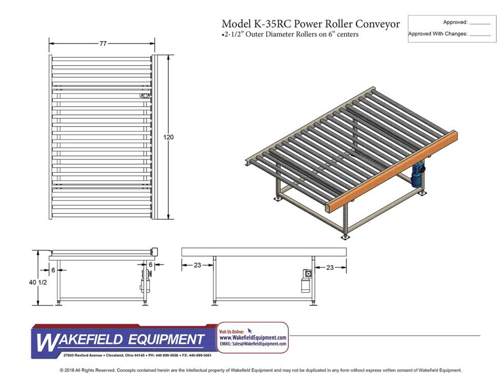 K 35RC 10′ Power Roller Conveyor