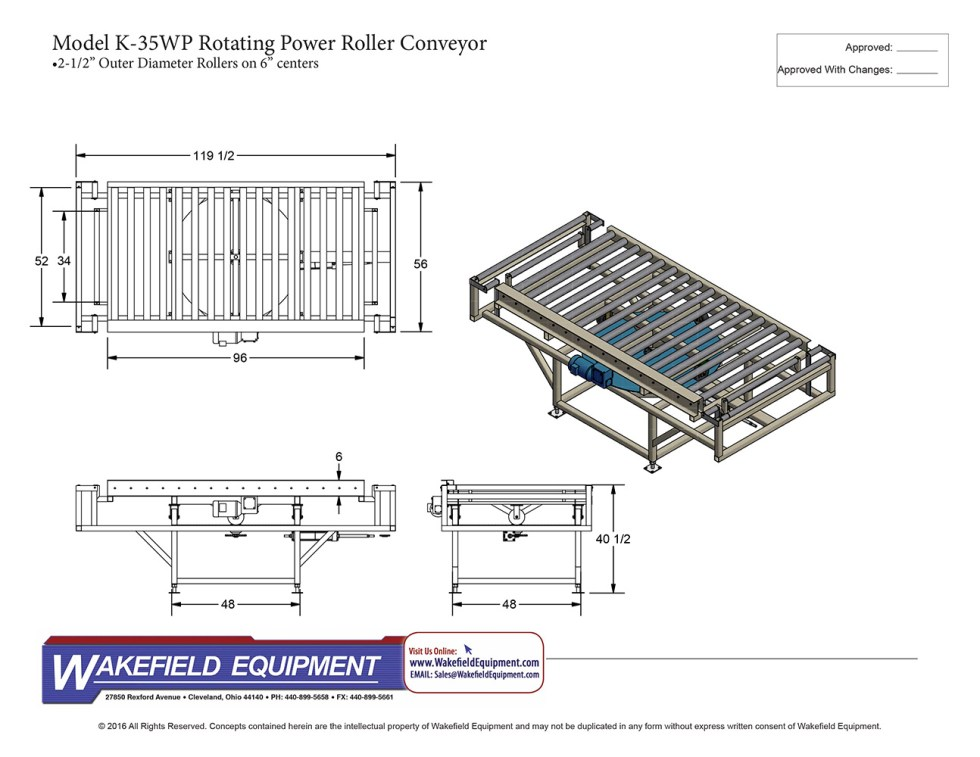 K 35WP Rotating Power Roller Conveyor