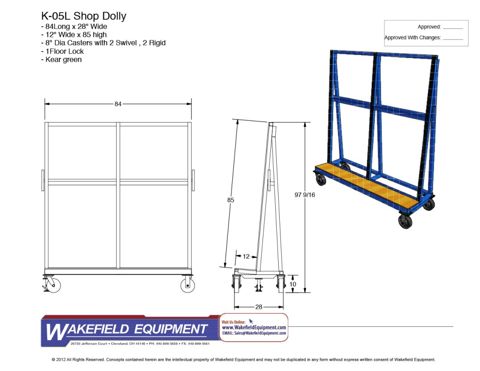 L Type Glass Dolly CAD