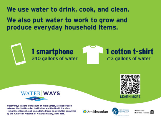"""Sign stating, """"We use water to drink, cook, and clean. We also put water to  work to grow and produce everyday household items."""""""