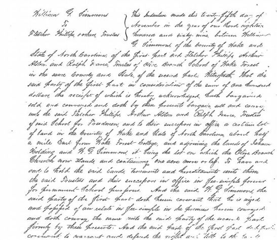 Handwritten text of a deed.