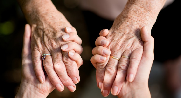 closeup young woman hand holding tenderness elderly senior person hands