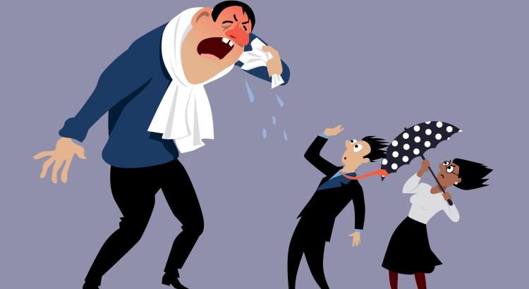 Sick man sneezing at terrified coworkers, EPS 8 vector illustration, no transparencies
