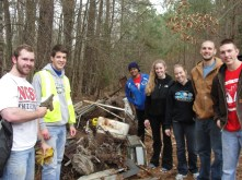 Volunteers (in no particular order): Whitney Sweesy, Josh Hauser, Paige Shepherd, Virginia Chriscoe, Kyle Muench, Jon Robertson, and Wyatt Starnes (volunteer is holding half of a toy gun that was found among the trash)