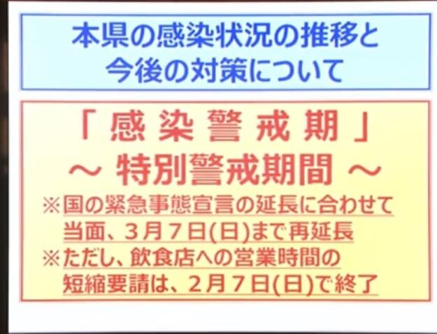 愛媛県の「新型コロナ特別警戒期間」は3月7日まで延長・・・