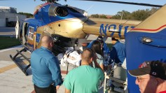 Jake being loaded onto the helicopter when they transferred him from NCH in Naples to Tampa General.