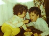 Jake feeding me Sugar Puffs in 1981