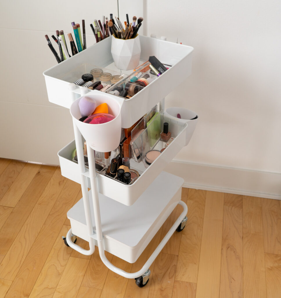 white rolling cart