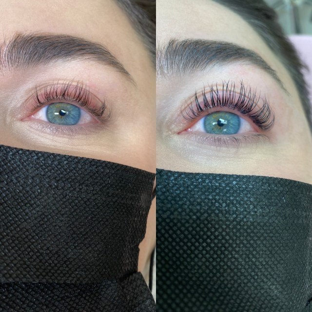before and after getting a lash lift and tint
