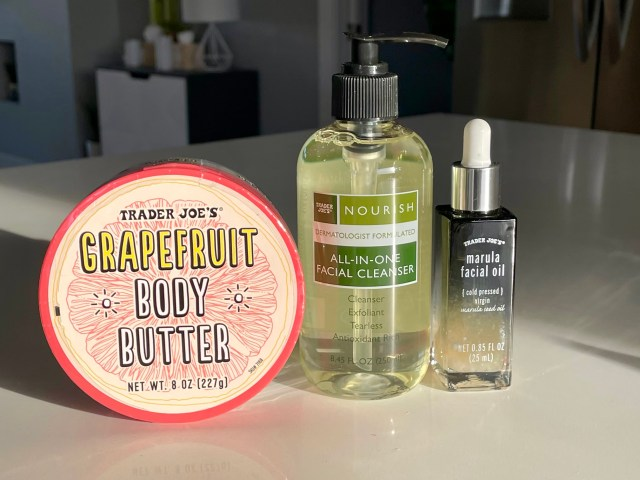 Trader Joe's beauty products. Grapefruit body butter, all in one cleanser and marula facial oil