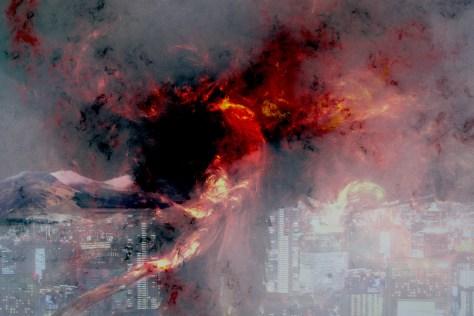 Phoenix Rising Over City
